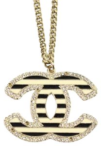 Chanel Jumbo Pinstripe CC Necklace 126CCA1014