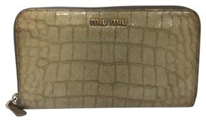 Miu Miu miu miu croc embossed long leather wallet
