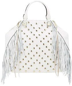 Rebecca Minkoff Runway Leather Studded Fringe Satchel in White