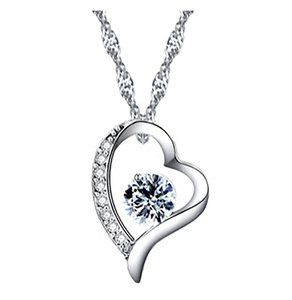 Brilliance 8 White Gold Plated Silver Heart Pendant Necklace