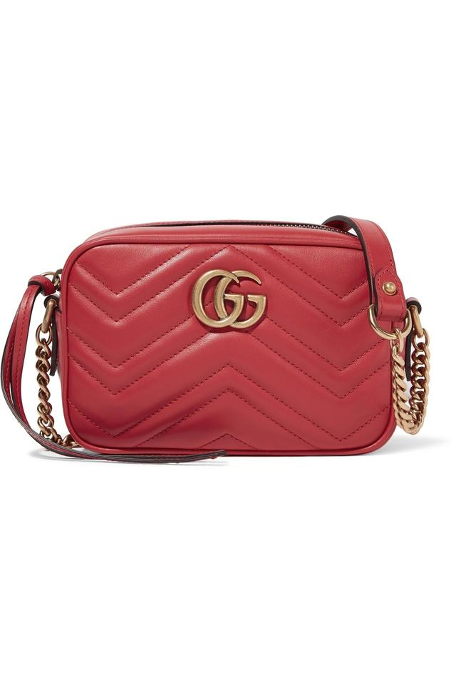 72635dc663 Gucci Marmont Gg Mini Red Leather Shoulder Bag - Tradesy