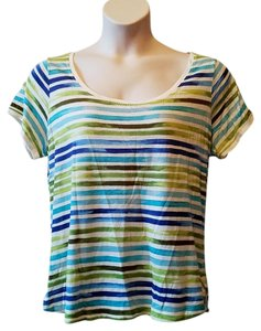 Liz Claiborne Top Green, Blue and White