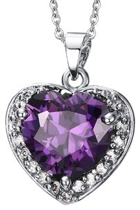 Brilliance 8 White Gold Plated Pendant Necklace Purple