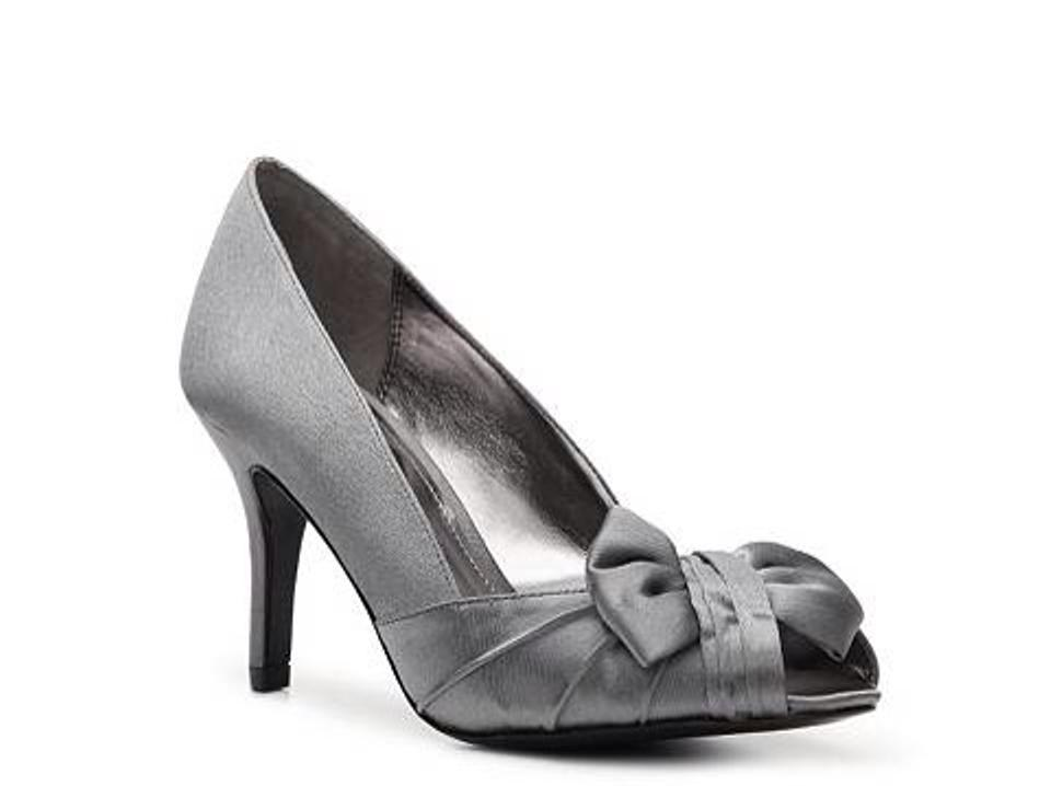 Nina Steel Peep Forbes Gray Metallicbow Toe Shoes Formal Futura Silver Z05rZq