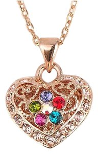 Brilliance 8 Rose Gold Plated Heart Pendant Necklace Multicolor Australian Crystal