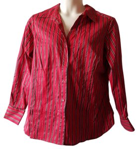 Worthington Button Down Shirt Red, Black and White
