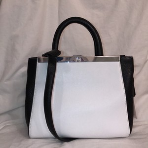 Halston Color Block Cross Body New/nwt Leather Satchel in Black/White