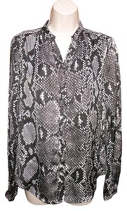 Michael Kors Snakeskin Print Satin Stand Button Top Black Gray