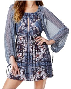 Free People short dress Marine Blue Combo Boho Peasant on Tradesy