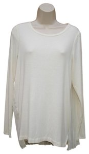 Black Swan Chiffon Pleat Jersey Tunic Longsleeve Top Cream