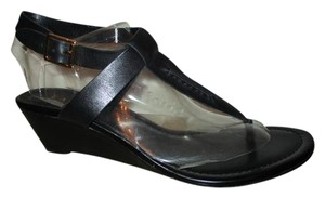 Ralph Lauren Leather Thong Wedge black Sandals