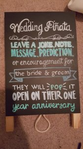 Wedding Pinata Chalkboard Sign