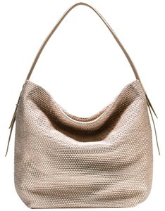 Cole Haan Bethany Pewter Metallic Gold Hardware Hobo Bag
