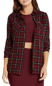 BCBGeneration Button Down Shirt Maroon Check