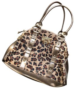 Betsey Johnson Satchel in Gold, Tan, Black, Brown