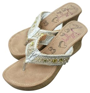 Jellypop Embellished Beading Beaded Sandals Embellished Sandals Silver, Yellow, Tan Wedges