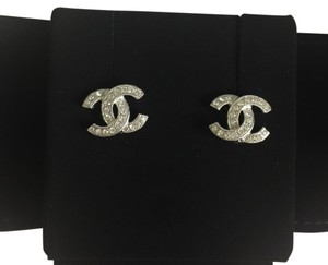 Chanel Chanel Classic Crystal Stud Earrings In Silver