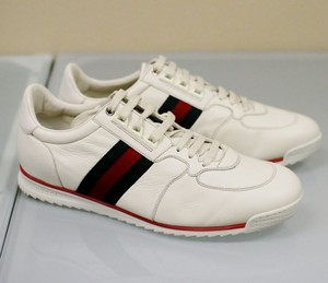 Gucci White Mens Leather Running Sneakers 14g/Us 14.5 243825 Shoes