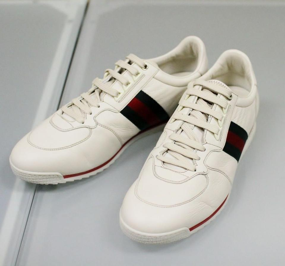 Gucci White Mens Leather Running Sneakers 13.5g/Us 14 243825 Shoes 57% off  retail