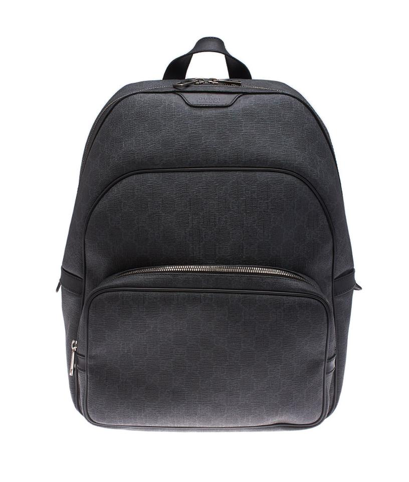 7d6b6a636ae Gucci Gg (109814) Black Coated Canvas Leather Backpack - Tradesy