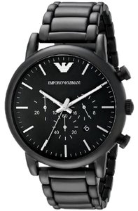 Emporio Armani Emporio Armani Classic Black Dial Brushed Black Mens Watch AR1895