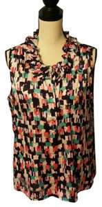 Nine West Abstract Sleeveless Ruffle Top Multi