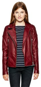 Jack Wills Leather Motorcycle Biker Oxblood Leather Jacket