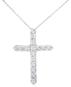 Other 2.25 CT Natural Superfine Diamond Cross Pendant with Chain in Solid 14