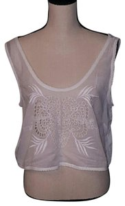 French Connection Crop Embellished Cut-outs Embroidered White Halter Top