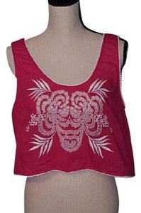 French Connection Crop Cut-outs Embellished Embroidered Pink Halter Top