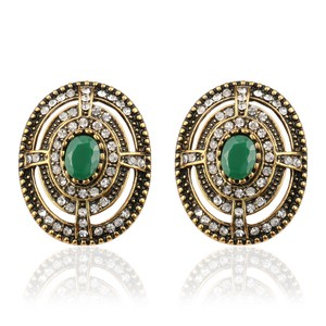 Other Bohemian Stud Earrings Emerald Green Gold Plated