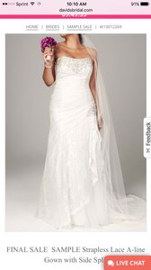 David's Bridal Strapless Lace A-line Gown With Corset Back And Side Split Wedding Dress
