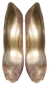 Anne Klein Taupe snake print with hints of gold Pumps