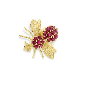 Other 1.05 Carat Natural Ruby Fly Bee Pin Brooch In Solid 14k Yellow Gold