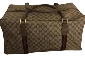 Gucci Classic brown with green and red canvas stripes Travel Bag