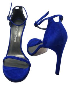 Stuart Weitzman Nudist Nudistsong Suede Ankle Strap Electric Blue Sandals