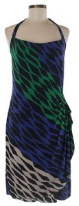 BCBGMAXAZRIA short dress Black, Blue, Green Shift Halter Geometric on Tradesy