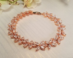 Wedding Rose Gold Plated Cubic Zirconia Flower Bracelet
