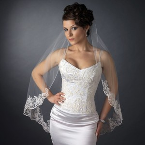 Elegance By Carbonneau White Fingertip Wedding Veil With Beaded Embroidery Edge