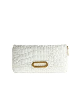 Jimmy Choo Alligator Print Cream Clutch