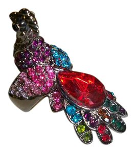 Amy's Treasure Box Eye Catching Crystals Peacock Stretch Ring