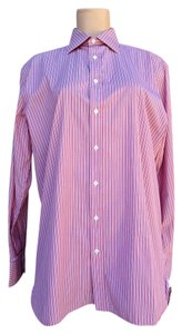 Thomas Pink Mens Pinstripe Classic Button Down Shirt red
