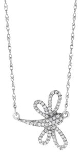 Other 0.17 Ct. Natural Diamond Dragonfly Pendant Necklace 14k White Gold