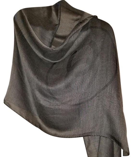 Item - Silver Dark Grey Silk Scarf/Wrap