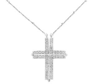 Other 1.10 Ct. Natural Diamond Magnetic Cross Reversible Necklace 14k White