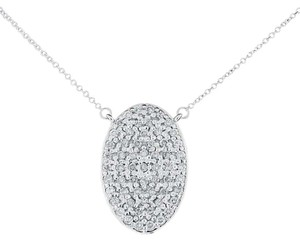 0.61 Ct. Natural Diamond Oval Medallion Pendant w/chain Solid 14k