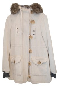 Free People Fur Trimmed Hooded Fleece White Faux Fur Pea Coat
