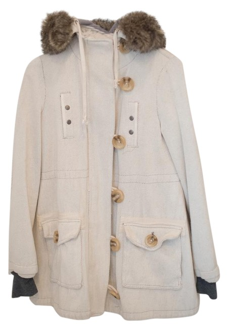 Item - Ivory Hooded and Fur Trimmed Parka Coat Size 4 (S)