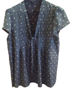 Daisy Fuentes Top Slate blue & white