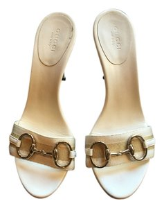 Gucci White with Gold Hardware Sandals